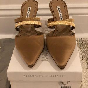 Gold satin Manolo Blahnik Facubia heels. NWT